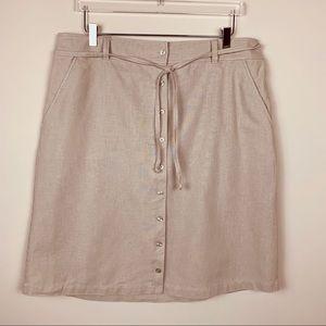 Eddie Bauer linen blend button down skirt SZ 16W